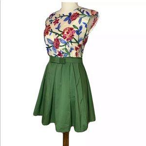 BEK SHINE Embroidered Floral Green Dress Size S